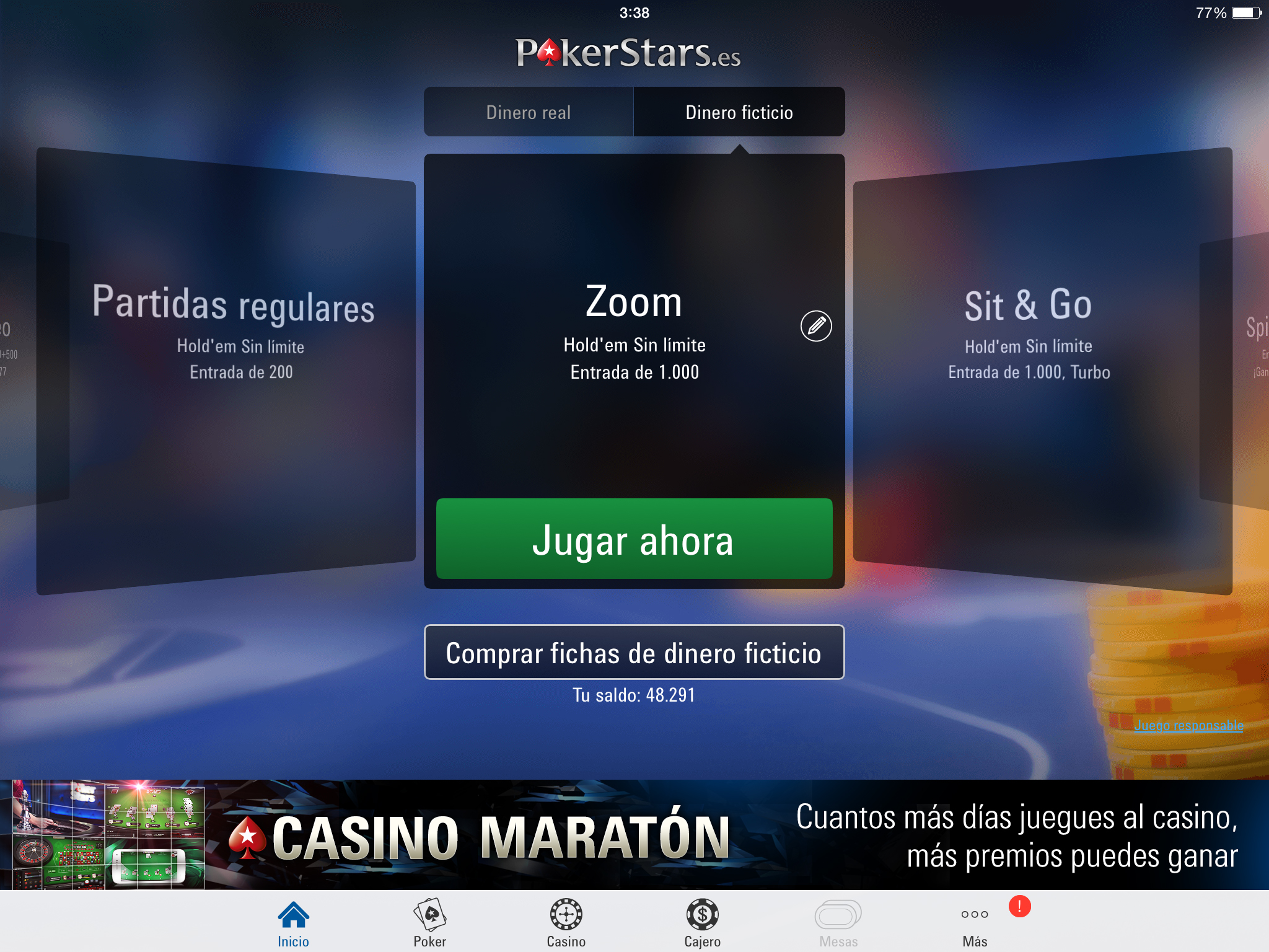 Primera pantalla que vemos al abrir la aplicación de póker online PokerStars.